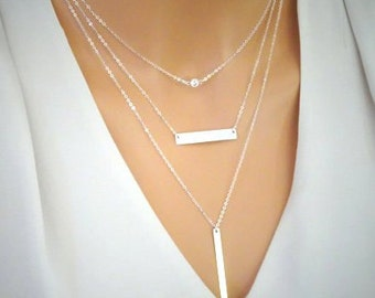 Layered necklaces, Set do 3 Sterling silver necklaces, Name bar necklace, Gold fill long bar pendant, Dainty CZ  necklace