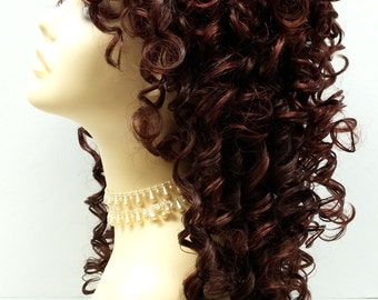 Southern Belle Mixed Brown & Auburn Long Curly Wig w/ Bangs. Spiral Curls Wig. Cosplay Wig.