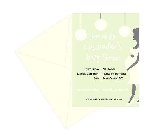 Baby shower invitation with pregnant mom silhouette pastel neutral il570xn filmwisefo