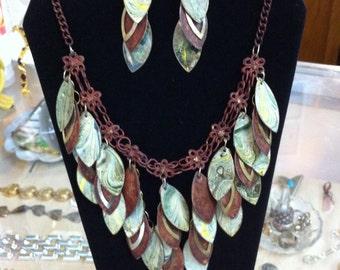 Vintage Copper or Brass Bib Choker Necklace & Earrings Painted Metal Unique
