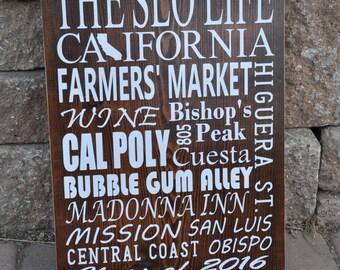 Large San Luis Obispo, California Subway Art Wooden Sign, Customizable