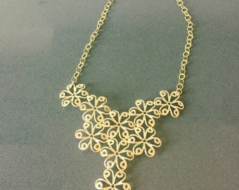 Flower Filigree Gold Necklace , Handmade necklace , Unique Christmas gift.