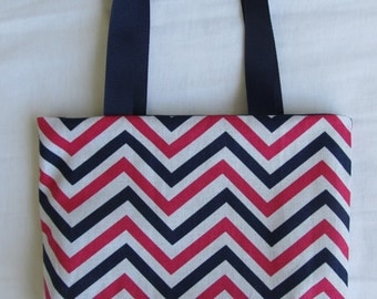 Fabric Gift Bag/ Small Tote/ Hostess Gift Bag- Blue, White and Pink Chevron Stripes