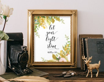 Bible verse art print, Scripture print, Christian art print, Inspirational quote, Bible prints, Let your light shine, Matthew 5:16 BD-797