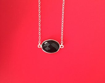 Totally Onyxpected Necklace - Sterling Silver Necklace with Black Onyx Oval Stone Connector, Black Onyx Necklace, Natural Faceted Onyx Stone