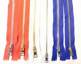 High Glossy Polished European Zippers- Red, White, Blue