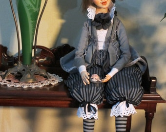 "ooak collectible interior art doll ""Pierrot"""