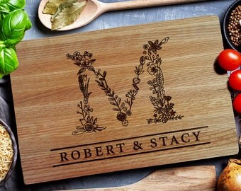 Personalized Cutting Board, Custom Carving Board, Floral Design MONOGRAM, Chopping Board, wedding monogram  (199) by EngravedSensations