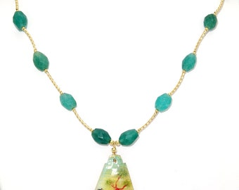 BN007- Antique Mother Of Pearl miniature painted pendant, on a necklace of Emerald and Gold beads