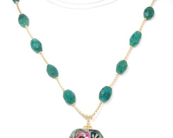 BN116- Fancy colorful flower Lampwork Glass and Emerald necklace