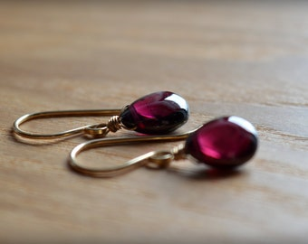Petite Garnet Earrings, Leverback, 14K Yellow/ Rose Gold Fill/ Sterling Silver, Natural Drop Dainty Red Gemstone Earrings January Birthstone