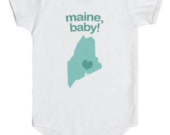 Maine Baby Onesie (Blue, Orange & Pink)
