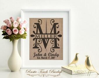 Burlap Decor, Burlap Wedding, Custom Burlap sign, Personalized Wedding Gift, Bridal Shower gift, Engagement gift, Country wedding, Burlap