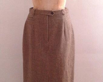 Vintage 1990's Ralph Lauren Brown Tweed Wool Long Pencil Skirt Sz 10 Traditional Preppy Edwardian Style