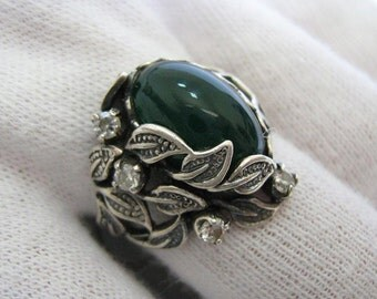 SOLID 925 Sterling Silver Ring Green AGATE Oval Cabochon Leaf Leaves Oxidized Darkened Dark Blackening US Size 7.5 Openwork Manual Work