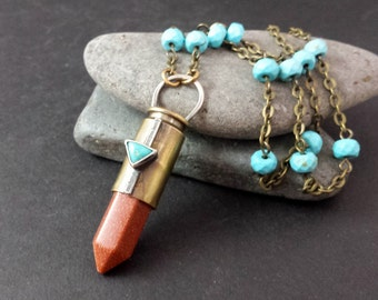 Goldstone  | Turquoise | Magnesite | Bullet Case Necklace