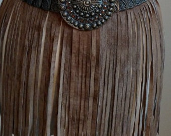 Leather Suede Fringe Skirt, One of A Kind, #cherryswandesigns