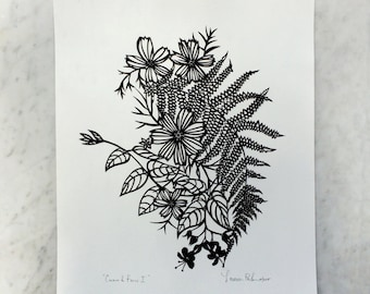 "Original Papercut Art ""Cosmos & Fern"""
