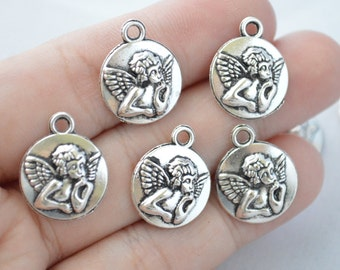 8 Pcs Angel Charms Angel Pendants Antique Silver Tone 19x17mm - YD0817