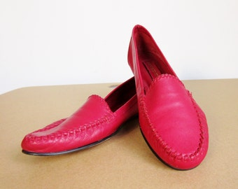 Vintage 80s Bright Red Leather Loafers - Women's Size 6.5