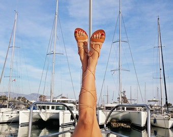 NEW!!! NATURAL or BLACK Leather Gladiator Sandals - Greek Leather Laces up Sandals. Natural or Black Leather Color.