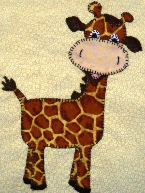 Giraffe Pdf Applique Pattern Baby Quilt Pattern By
