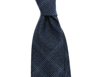 Woolen necktie, Navy plaid men's slim tie, Mens blue check luxury wool necktie, gift for men