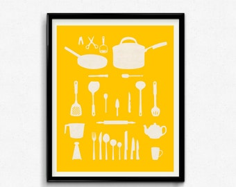 Kitchen decor Gift for mom Typography print Retro kitchen art Kitchen poster Kitchen print Kitchen wall decor kitchen art yellow home decor