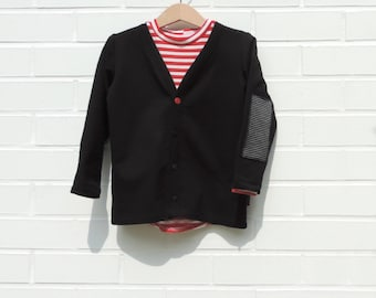 Black Terry Cardigan , Baby Cardigan, Boys Cardigan, Girls Cardigan, Black Cardigan, Cardigan 18 Months to 2T - By PetitWild