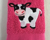 Cow Facecloth - Machine Embroidered Facecloth - Washcloth - Flannel - Handmade gifts for children - Birthday Gifts - Christmas gifts