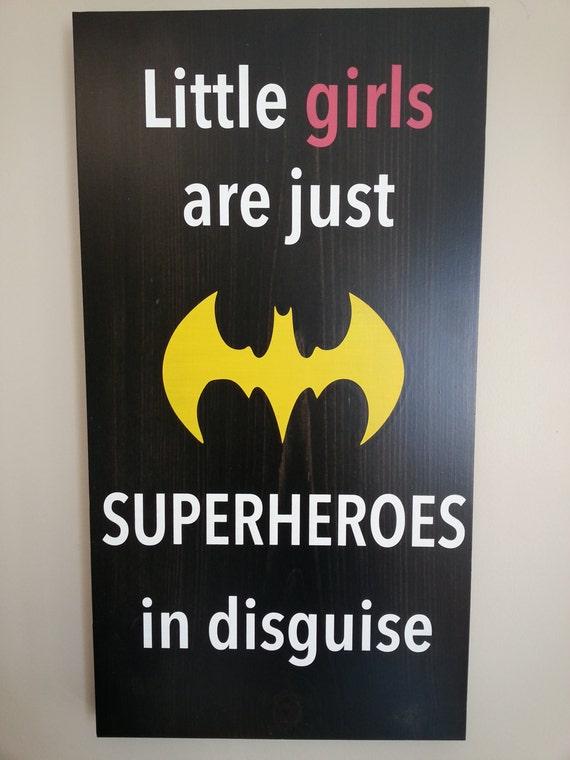 Batman sign superman superhero little girls room wood for Signs for little girl rooms
