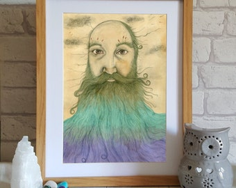 Man with Beard Art Print - beard illustration - beard drawing - merman - man art - wall art -  surreal art print - fantasy art