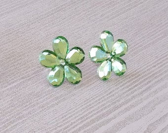 Flower Earrings Green Flower Clip On Earrings Green Flowers Girl Earring Green Party Favors Pierced Earrings Birthday Gift for Girl