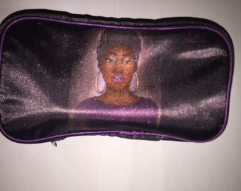 Purple and black Beauty Queen Make up Bag