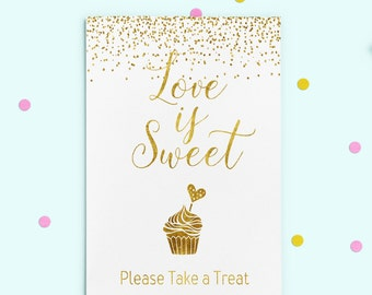 Love is Sweet printable dessert table Love is Sweet Sign Candy Buffet Sign Gold Take a Treat Sign Bridal shower decor Digital Download idb4