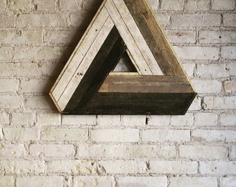 Reclaimed Wood Wall Art, Decor, Lath, Penrose Triangle, Geometric Pattern, Escher