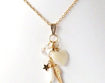 Gold plated nacklace +nacre pendants