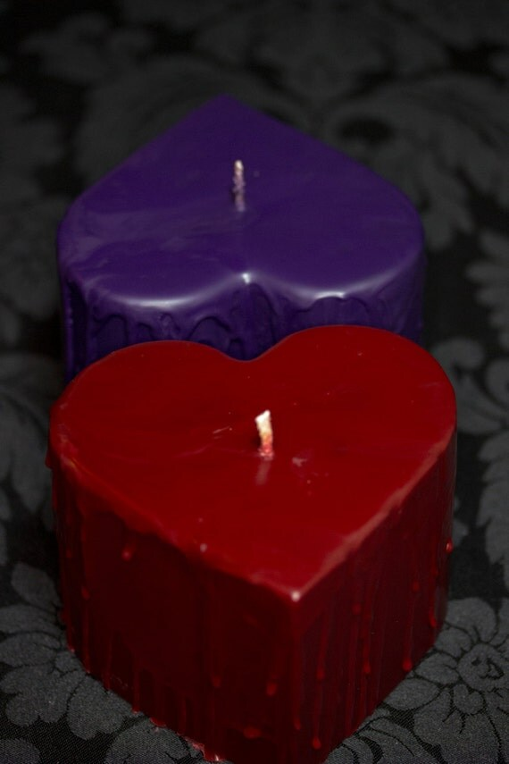 Large Dripping Heart, Red Rigger Soy Wax Play Candle, BDSM Candles, Homemade Kinky Valentine's Present