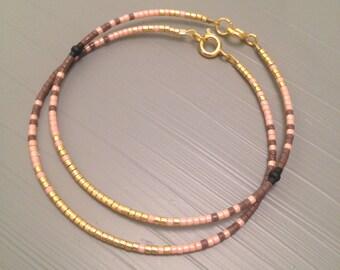 Gold Filled Bracelet Bridesmaid Jewelry gift Blush Bridesmaid Bracelet set Peach bracelet Blush Wedding
