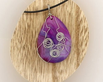 Purple Onyx Agate Gemstone Wire Wrapped Pendant Necklace OOAK