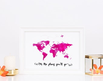 Oh The Places You'll Go Watercolour World Map Print | Watercolor | Typography Quote | Printable Art | Home Decor | Painting | Digital Print