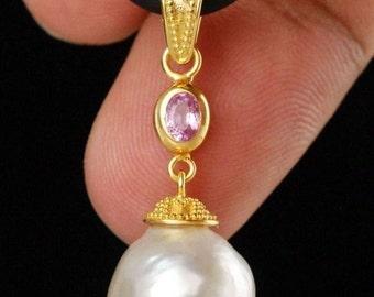 Beautiful genuine Pink Tourmaline & south sea pearl 24 ct gold pendant