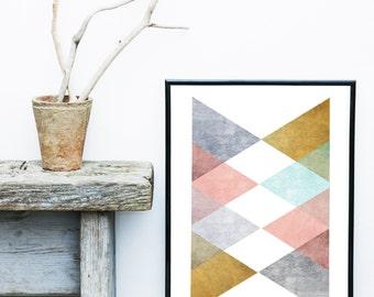 Triangle Art Print, Geometric Print, Scandinavian Design, Modern Art, Abstract Art Print, Modern Wall Art, Giclee print, Home Decor