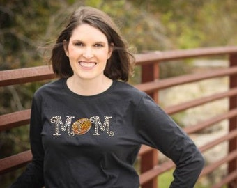 Football Mom Rhinestone Shirt, Football mom transfer/ applique
