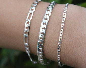 TRIPLE THREAT BRACELET Package, Three Silver Chain Stackable Bracelets, Small Medium and Large