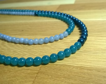 Double String Angelite and Teal Bead Necklace