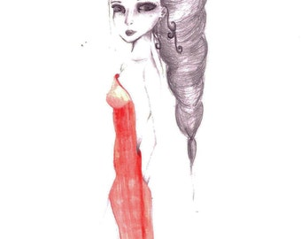 Drawing: Lady in Red