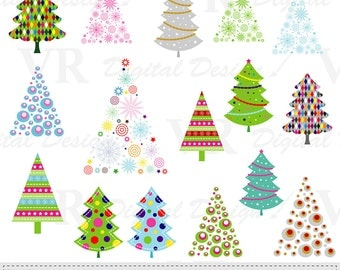 Christmas Trees Clip Art, Christmas Clipart, Vector Digital Download Clip Art, Christmas Tree Scrapbooking Clipart