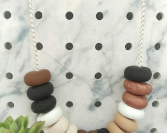 Braided Leather Earthen Necklace // Polymer Clay // Braided Leather // 15 Bead
