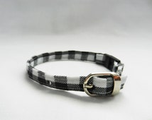 Adjustable Cat Collar -Black & White Gingham Fabric - Breakaway Buckle - Optional Jingle Bell - Cute Cat Collar - Unique, Handmade